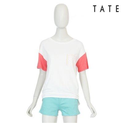 [패션플러스 / 테이트] 테이트  여성 면혼방 소매배색 라운드 반팔 티셔츠 KA4U4WKS340110