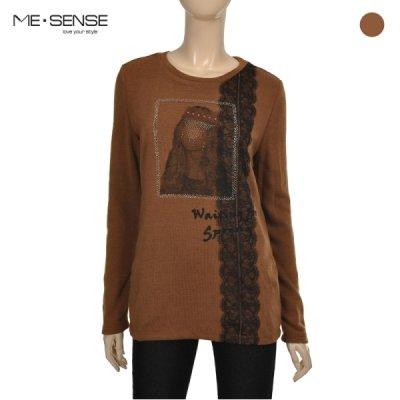 [패션플러스 / 미센스]미센스_레이스&큐빅장식 라운드넥 니트 티셔츠_M6YTSM229Z